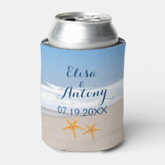 Starfish pair summer beach wedding can cooler