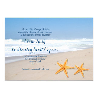 Starfish pair summer beach wedding card
