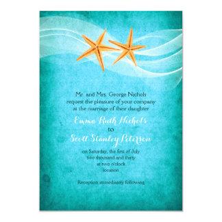 Starfish pair turquoise destination beach wedding card