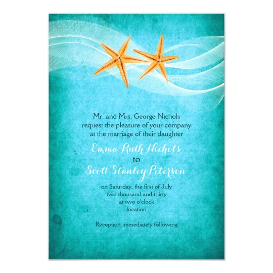 Starfish Pair Turquoise Destination Beach Wedding Invitation