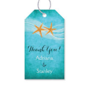 Starfish pair & veil beach wedding Thank You Pack Of Gift Tags