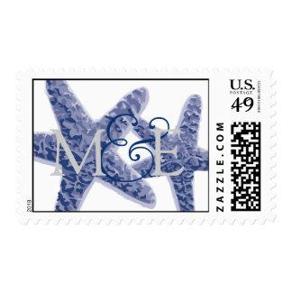 Starfish Pair Wedding Monogram Postage