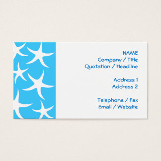Starfish Pattern, Bright Turquoise Blue and White. Business Card