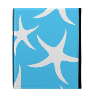 Starfish Pattern, Bright Turquoise Blue and White. iPad Folio Case