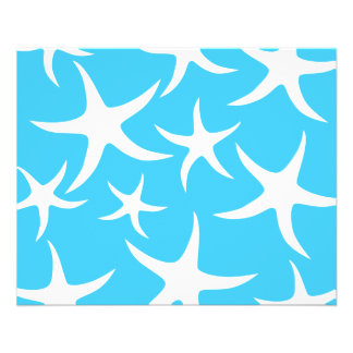 Starfish Pattern, Bright Turquoise Blue and White. Personalized Flyer
