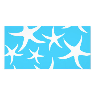 Starfish Pattern, Bright Turquoise Blue and White. Photo Card