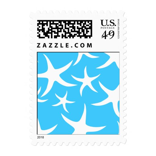 Starfish Pattern, Bright Turquoise Blue and White. Postage Stamps