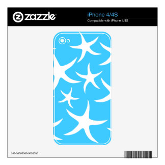 Starfish Pattern, Bright Turquoise Blue and White. iPhone 4S Skin