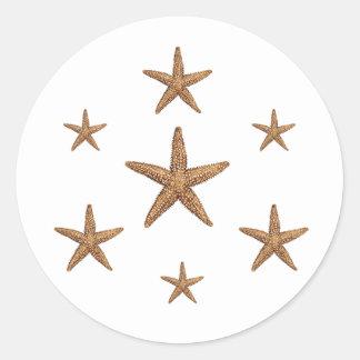 Starfish Pattern (geometric) Classic Round Sticker