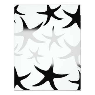 Starfish Pattern in Black and White. 4.25x5.5 Paper Invitation Card