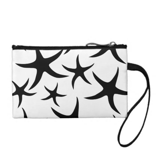 Starfish Pattern in Black and White. Coin Purses