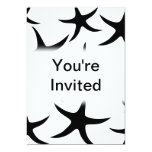Starfish Pattern in Black and White. 5x7 Paper Invitation Card