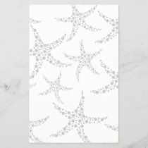 Starfish Pattern in Light Gray and White