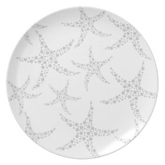 Starfish Pattern in Light Gray and White Dinner Plate