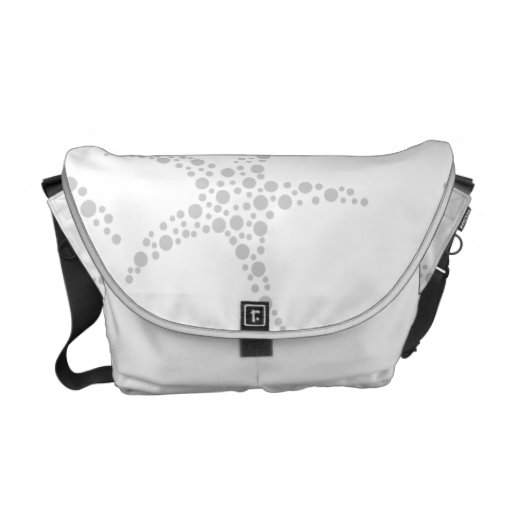 Starfish Pattern in Light Gray and White Messenger Bag