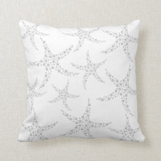 Starfish Pattern in Light Gray and White Pillow