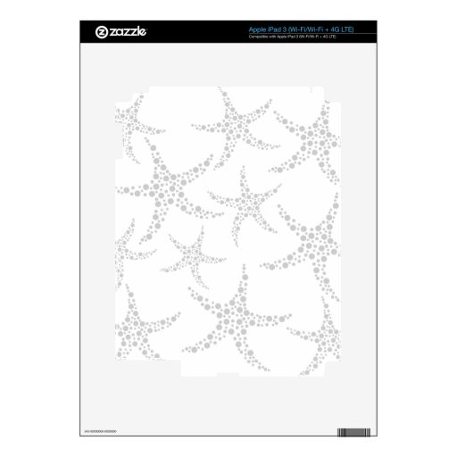 Starfish Pattern in Light Gray and White Decals For iPad 3