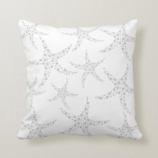Starfish Pattern in Light Gray and White Throw Pillow