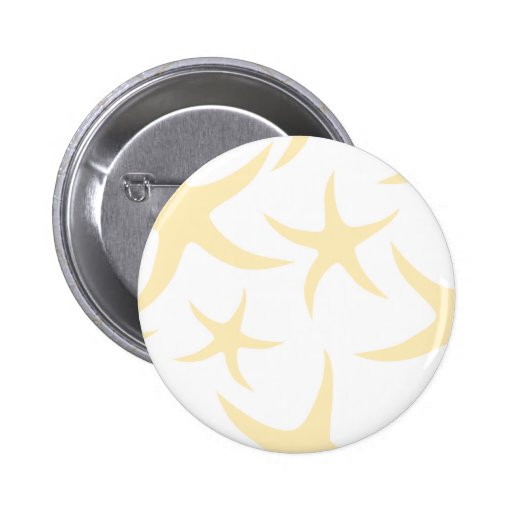 Starfish Pattern in Pastel Yellow and White. 2 Inch Round Button