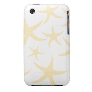 Starfish Pattern in Pastel Yellow and White. iPhone 3 Case