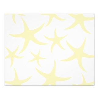 Starfish Pattern in Pastel Yellow and White. Full Color Flyer