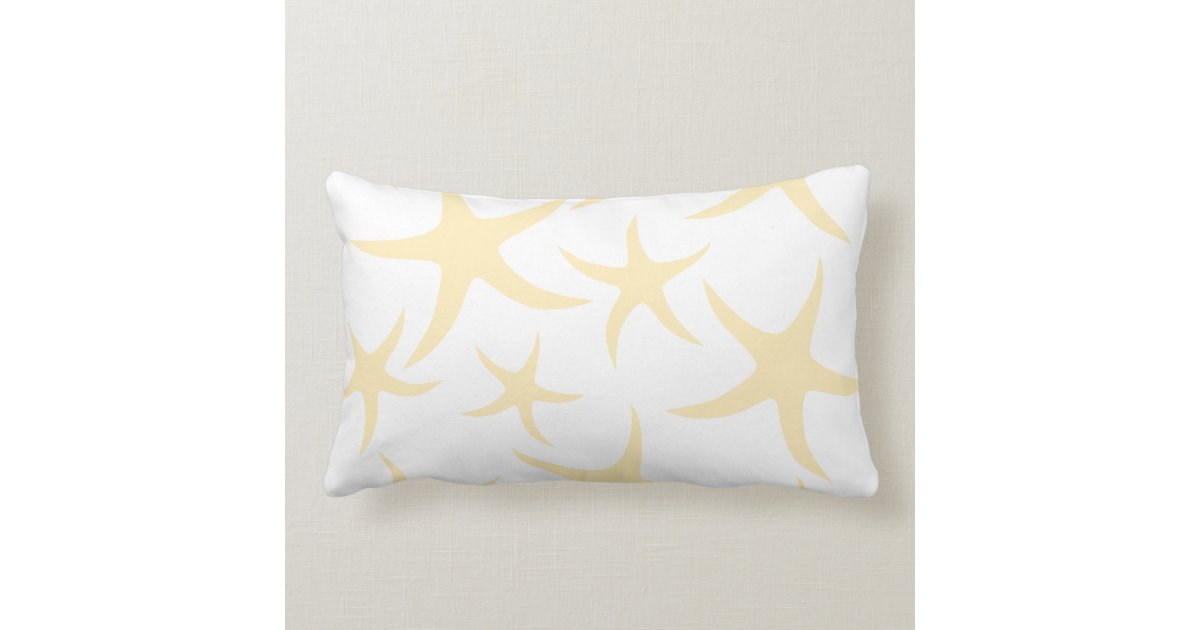 Starfish pattern in pastel yellow and white lumbar pillow zazzle - Whiten yellowed pillows ...