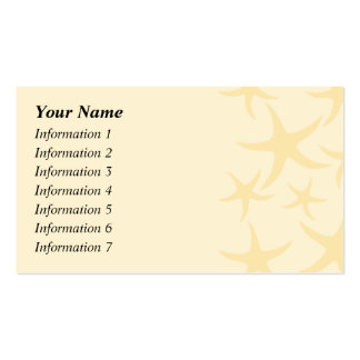 Starfish Pattern in Pastel Yellow. Double-Sided Standard Business Cards (Pack Of 100)