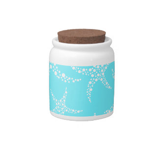 Starfish Pattern in Turquoise and White. Candy Jar