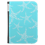 Starfish Pattern in Turquoise and White. Kindle Case