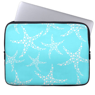 Starfish Pattern in Turquoise and White. Laptop Computer Sleeve