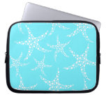 Starfish Pattern in Turquoise and White. Laptop Computer Sleeves