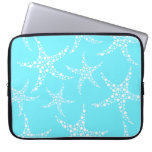 Starfish Pattern in Turquoise and White. Laptop Sleeves