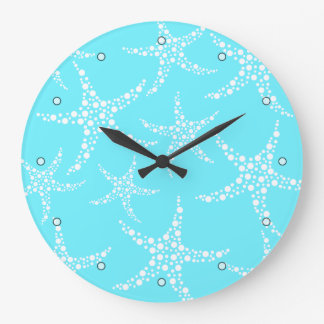 Starfish Pattern in Turquoise and White. Large Clock
