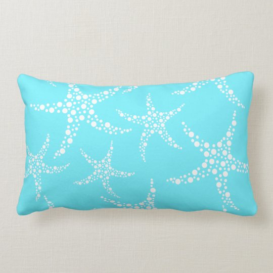 Starfish Pattern in Turquoise and White. Lumbar Pillow