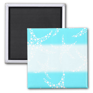 Starfish Pattern in Turquoise and White. Refrigerator Magnets