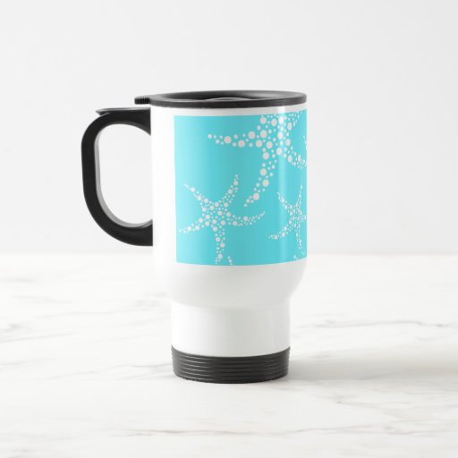 Starfish Pattern in Turquoise and White. 15 Oz Stainless Steel Travel Mug