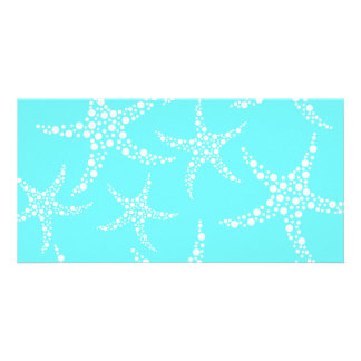 Starfish Pattern in Turquoise and White. Photo Card
