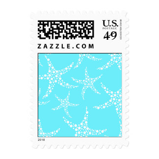 Starfish Pattern in Turquoise and White. Postage