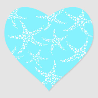 Starfish Pattern in Turquoise and White. Heart Sticker