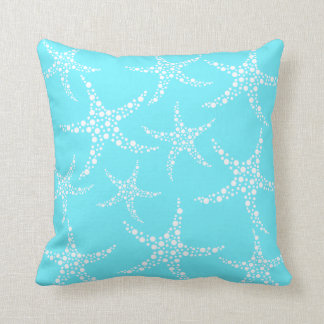 Starfish Pattern in Turquoise and White. Throw Pillow