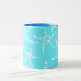 Starfish Pattern in Turquoise and White. Two-Tone Coffee Mug