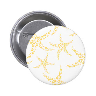 Starfish Pattern in Yellow and White. 2 Inch Round Button