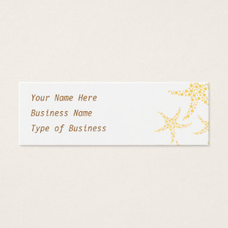 Starfish Pattern in Yellow and White. Mini Business Card