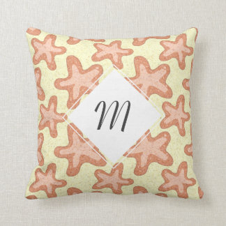 Starfish Pattern, Nautical Sea Life Throw Pillow