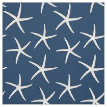 Starfish Pattern Navy Blue Beach Theme Nautical Fabric