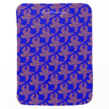 Beach Themed starfish pattern Thunder_Cove blue Receiving Blanket