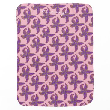 Beach Themed starfish pattern Thunder_Cove pink/blue Receiving Blanket