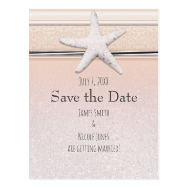 Beach Themed Starfish Peach & Cream Beach Wedding Save the Date Postcard
