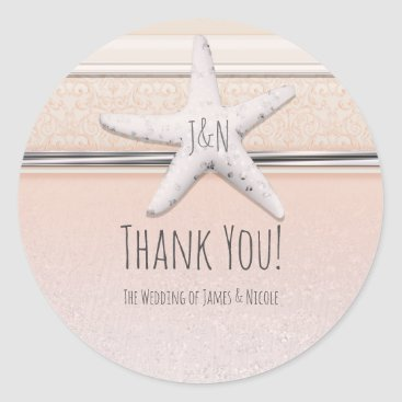 Beach Themed Starfish Peaches & Cream Beach Elegant Wedding Classic Round Sticker