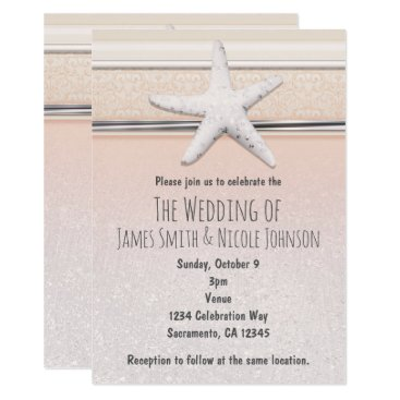Beach Themed Starfish Peaches & Cream Beach Wedding Invitation